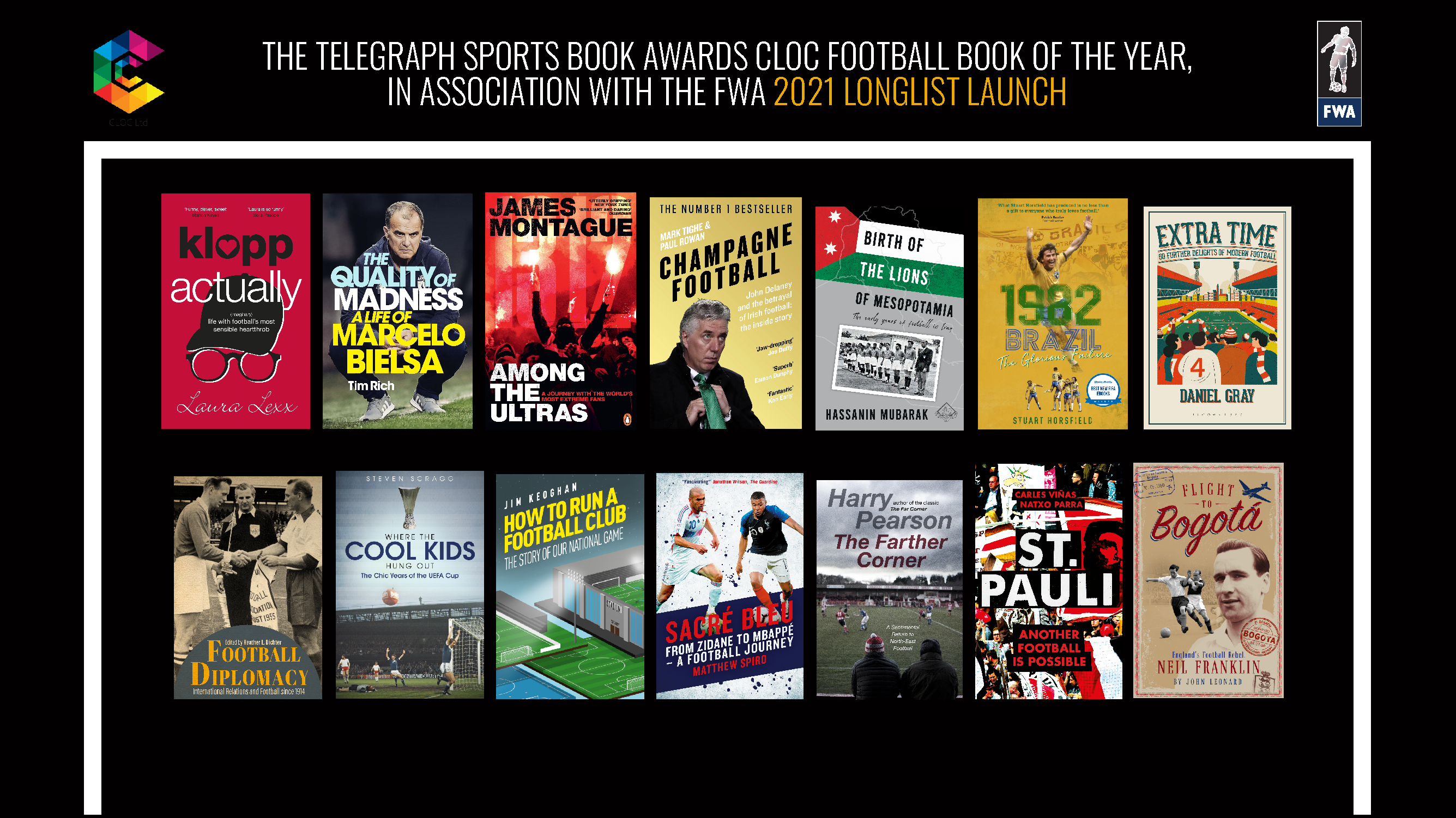 The Cloc Football Book of the Year Longlist Launch 2021